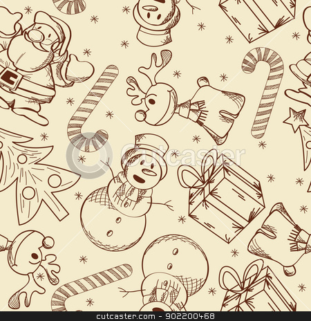 Christmas doodle pattern stock vector clipart, Decorative seamless pattern with Christmas doodles. by Richard Laschon