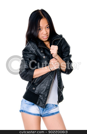 Portrait of brunette in a leather jacket.  stock photo, Portrait of brunette in a leather jacket. Asian girl on a white background by Vadim