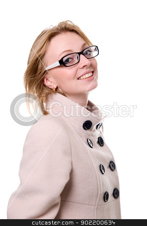 Portrait of a cheerful girl in a light coat. isolated  stock photo, Portrait of a cheerful girl in a light coat. isolated on white background. by Vadim