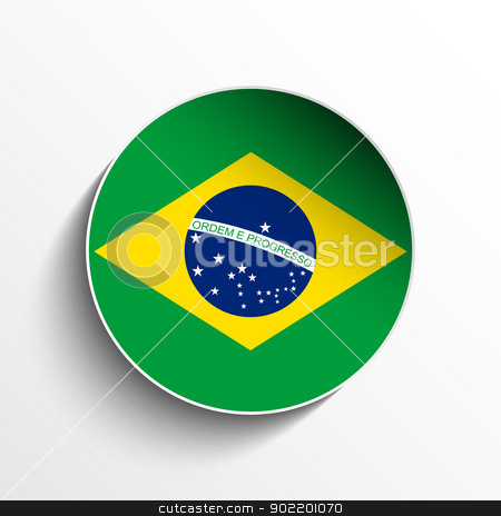 Brazil Flag Paper Circle Shadow Button stock vector clipart, Vector - Flag Paper Circle Shadow Button Brazil by gubh83