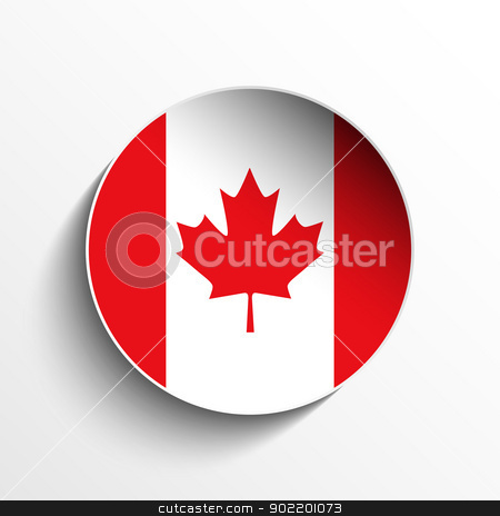 Canada Flag Paper Circle Shadow Button stock vector clipart, Vector - Flag Paper Circle Shadow Button Canada by gubh83
