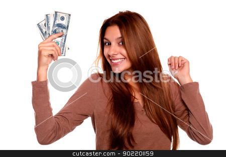 Charming young woman with cash money stock photo, Portrait of a charming young woman with cash money with long brow hair against white background by pablocalvog