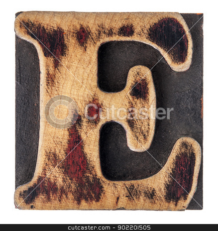 letter E wood type block stock photo, letter E in isolated vintage letterpress wood type printing block by Marek Uliasz