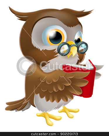Cartoon Owl Reading a Book stock vector clipart, An illustration of a cute wise cartoon owl character wearing glasses and reading a book by Christos Georghiou