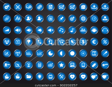 Set of blue universal web icons stock vector clipart, Set of blue universal web icons isolated on white background by kurkalukas