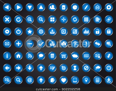 Set of blue universal web icons stock vector clipart, Set of blue universal web icons isolated on black background by kurkalukas