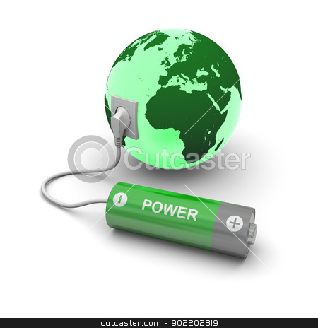 Battery connected to Earth stock photo, Illustration of green battery connected to planet Earth isolated on white background. Elements of this image furnished by NASA by Harvepino