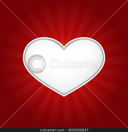 White heart shape with inner shadows on dark red tectured background stock vector clipart, Romantic vector love heart with inner shadows on dark red background with a slight texture. Great for Valentine's or any romantic themes. Space for your text. by Ina Wendrock