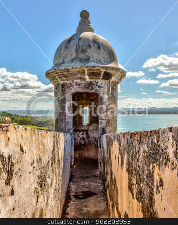 Sentry box at El Moro Fortress, San Juan stock photo, Sentry box at El Morro Fortress, San Juan, Puerto Rico by Gary Ives