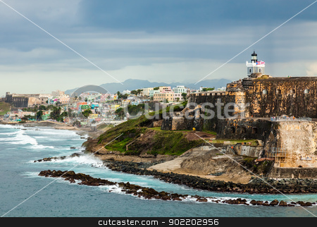 El Morro Fortress, San Juan, Puerto Rico stock photo, Crashing surf on the beach at El Morro Fortress, San Juan, Puerto Rico by Gary Ives