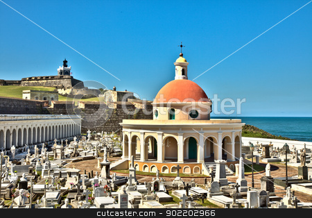 San Juan Cemetery with El Morro Fortress stock photo, View of El Morro Fortress from Old San Juan cemetery. by Gary Ives
