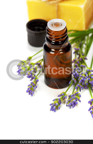 lavender spa stock photo, lavender spa (fresh lavender flowers,  essential oil, soap) over white by klenova