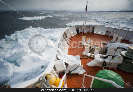 Abashiri Icebreaker stock photo, A view from the front of the aurora ice breaker, Abashiri, Hokkaido, Japan by Stephen Gibson