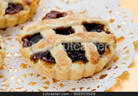 Mince Tarts stock photo, Mince tarts on gold plate. by Glenn Price