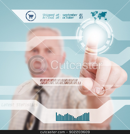 Digital concept stock photo, Senior businessman pressing high tech type  by Grafvision