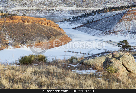 mountain lake marina in winter stock photo, mountain lake marina in winter scenery - Inlet Bay of Horsetooth Reservoir near Fort Collins,Colorado by Marek Uliasz