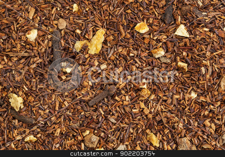 rooibos cinnamon  tea stock photo, background texture of rooibos tea with cinnamon, orange peels, and clove by Marek Uliasz
