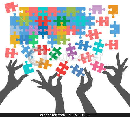 People join to find puzzle connections stock vector clipart, Female hands work together to connect jigsaw puzzle pieces  by Michael Brown