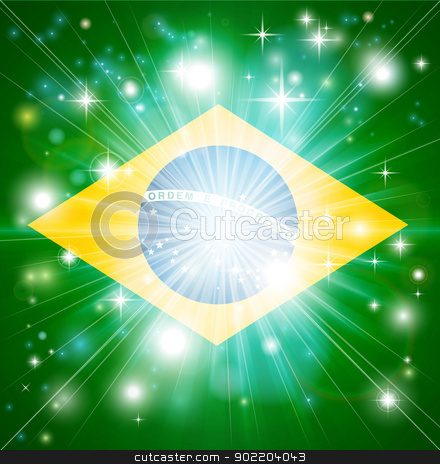 Brazilian flag background stock vector clipart, Flag of Brazil background with pyrotechnic or light burst and copy space in the centre by Christos Georghiou