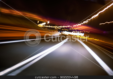 Abstract road at night stock photo, Abstract image of road at night by carloscastilla