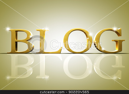 blog text  stock photo, 3d blog text in gold by carloscastilla
