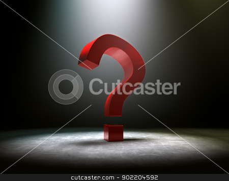 question mark  stock photo, 3d image of red question mark with dramatize spotlight by carloscastilla