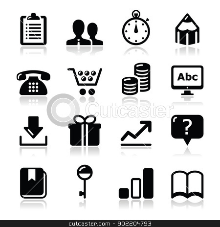 Website internet icons set - vector stock vector clipart, Modern application website black icons with shadows  by Agnieszka Murphy