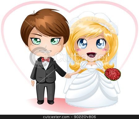 Bride and Groom Getting Married stock vector clipart, A vector illustration of a bride and groom dressed for their wedding day. by Liron Peer