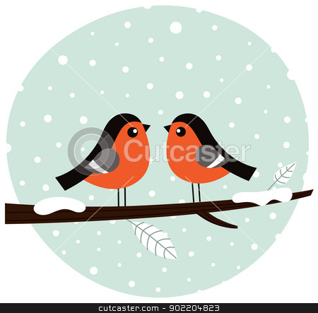 Cute bullfinch couple sitting on the branch stock vector clipart, Cute winter birds. Vector cartoon Illustration by Jana Guothova