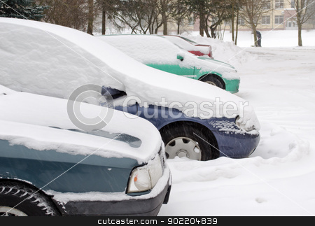 cars stand outdoor parking blizzard snow winter  stock photo, cars covered with falling blizzard snow standing in outdoor parking in winter.  by sauletas