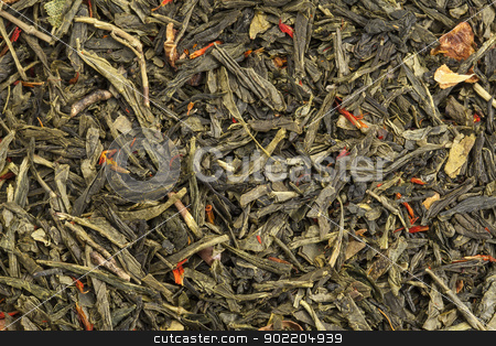 green tea texture stock photo, background texture of loose leaf green tea with apple fruit and safflower by Marek Uliasz
