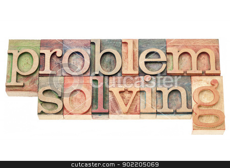 problem solving stock photo, problem solving - isolated words in vintage letterpress wood type printing blocks by Marek Uliasz