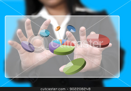 business chart stock photo, businesswman hand touch pie chart on touch screen by Vichaya Kiatying-Angsulee