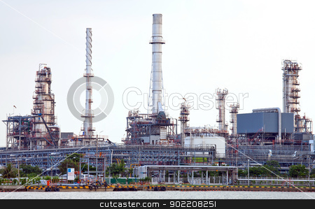 Oil refinery plant  stock photo, landscape of Oil refinery plant along river in Bangkok by Vichaya Kiatying-Angsulee