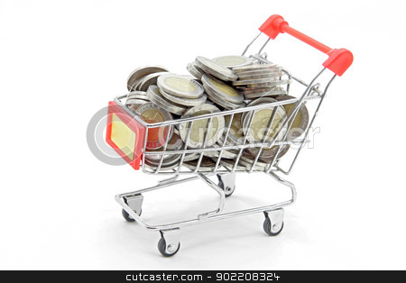shopping cart with full wealth coins stock photo, studio shot of shopping cart with full wealth coins inside isolated on white background by Vichaya Kiatying-Angsulee