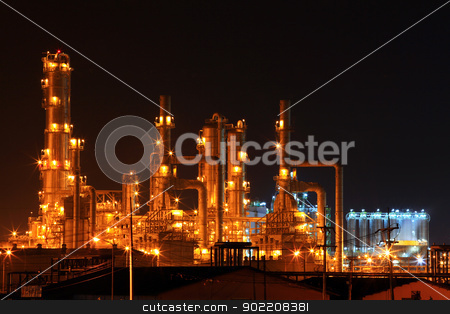 petrochemical oil refinery plant stock photo, scenic of petrochemical oil refinery plant shines at night, closeup by Vichaya Kiatying-Angsulee