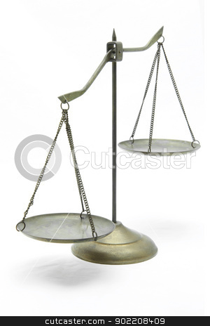 unbalance of golden scales stock photo, unbalance of golden brass scales of justice on white front perspective by Vichaya Kiatying-Angsulee