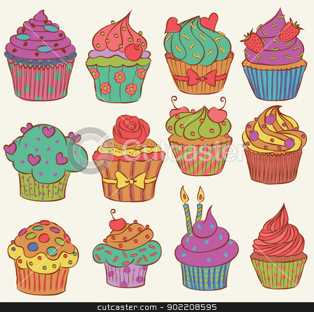 Yummmmy!!! stock vector clipart, Childish and delicious cupcakes set by wingedcats