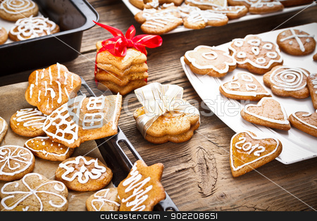 Varoius homemade gingerbread stock photo, Varoius homemade gingerbread cookies with different chapes for christmas  by Grafvision
