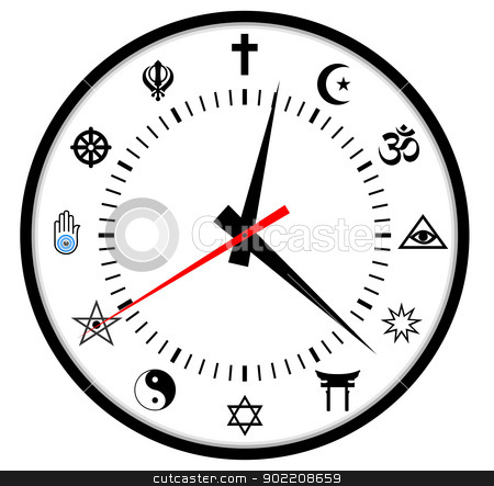 religions clock stock photo, very big size major world religions clock by Tudor Antonel adrian