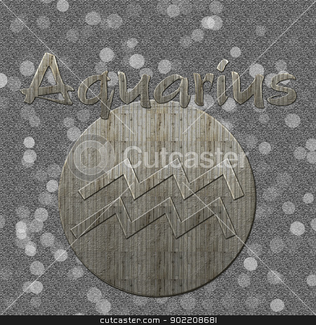Aquarius  symbol in grey background with bokeh stock photo, An image with aquarius sign and text in a grey background. Has vintage wooden style and bokeh in background. by Chirag Pithadiya