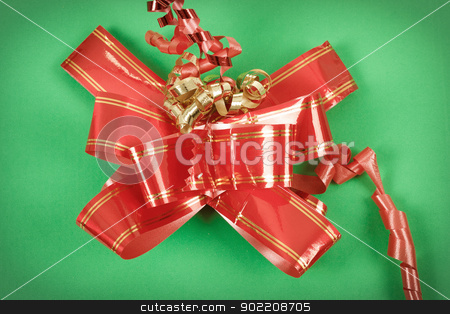 red ribbon on gift stock photo, red ribbon decoration on green box gift by Artush