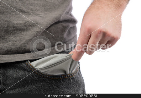 Empty Pocket stock photo, Closeup of a man holding out his empty pocket, isolated on a white background. by Richard Nelson