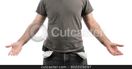 Broke stock photo, A broke man with empty pockets, isolated on a white background. by Richard Nelson