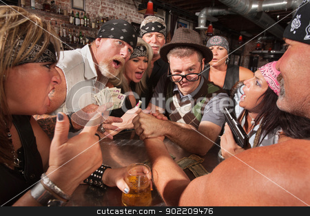 Nerd Arm Wrestling with Gambling Bikers stock photo, Biker gang gambling in nerd arm wrestling match  by Scott Griessel