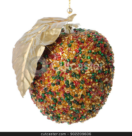 Christmas apple decoration  stock photo, Christmas apple decoration bauble hanging Isolated on white background. by Homydesign