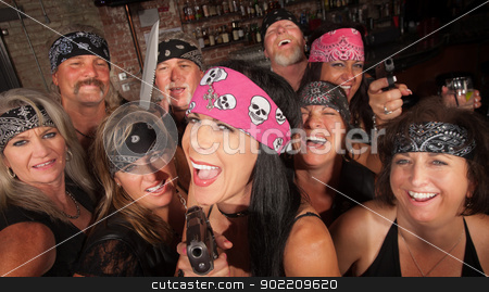 Laughing Gang Members in Bar stock photo, Laughing motorcycle gang members pointing pistols in a bar by Scott Griessel