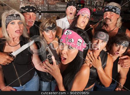 Shocked Gang Members stock photo, Shocked crowd of motorcycle gang members with weapons by Scott Griessel