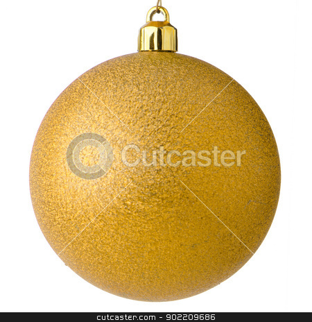 Yellow christmas ball stock photo, Yellow christmas ball isolated on white background. by Homydesign 