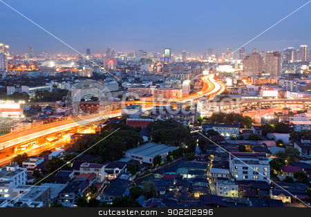 Bangkok Dowtown at dusk stock photo, Citscape of Bangkok Skylines at Victory Monument Downtown at Dusk aerial view by Vichaya Kiatying-Angsulee